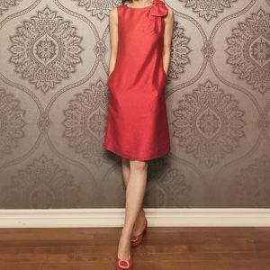 Reserved* Eccoci silk wool red dress with bow
